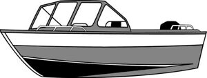 7oz BOAT COVER ALUMINUM WIDE FISHING BOAT HIGH FORWARD MOUNT WS 15'6