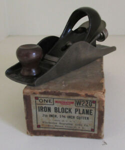 The Winchester Store IRON BLOCK PLANE w220 w Box Rare Antique Tool Nice Old
