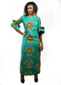 Olive Pure African Dress Nice Ankara Design for Women Pure African Soft Cotton