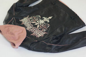 Harley Davidson Women TEMPEST Pink Sword Leather Jacket 3in1 Hoodie 97086-09VW M