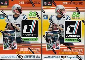 (2) 2018 Donruss Football NFL Trading Cards New 88ct. Retail Blaster Box LOT FS