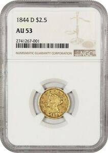 1844-D 2 12 NGC AU53 - Scarce Dahlonega Issue - 2.50 Liberty Gold Coin