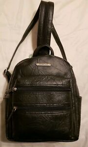 Black Leather Zippered Backpack Style Purse Stone & Co Nancy Leather Dbl Frt Zip