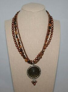 Silpada Sterling Silver Tiger's Eye & Bronze Pearl Pendant Necklace N1838