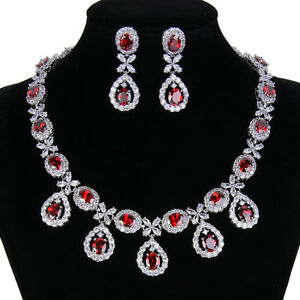 Teardrop Bridal Necklace Earrings Set Choker Copper Red CZ Women Best Gift