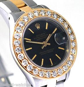 Rolex Ladies 2-Tone Watch Black Color Index Dial & Diamond Bezel Oyster Band