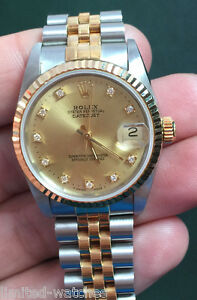 Midsize 2 Tone Rolex Watch On Jubilee Band With Champagne Factory Diamond Dial