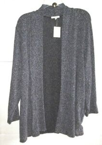 AVA JAMES 2X CHARCOALHeather ROLL-NECK BUTTON-LESS KNIT PolyCotSpan LS NWT