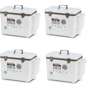 Engel 30 Durable Quart Bait Dry Box and Cooler with Rod Holders White (4 Pack)