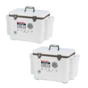 Engel 30 Durable Quart Bait Dry Box and Cooler with Rod Holders White (2 Pack)