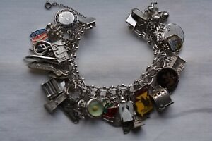 Vintage Sterling Silver Charm Bracelet with 31 Charms Mixed