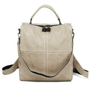 Leparvi Women Backpack Purse Leather Shoulder Bag Rucksack Vintage Satchel Beige