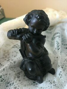 Vintage Antique Bronze Cherub Putti Angel Playing Flute 4.5