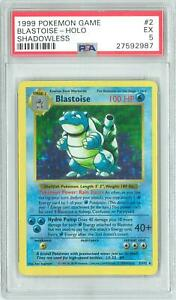 Pokemon Base Set Shadowless Blastoise 2102 Holo Rare PSA 5