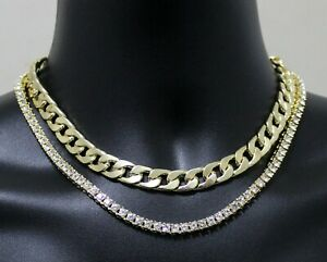 2 pc Choker Set Miami Cuban Link 1 Row Tennis Necklace 14k Gold Plated Jewelry