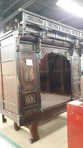 Rare Antique Chinese Wedding Canopy Opium Bed Intricately Heavily Carved