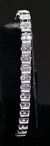 10k white gold 3.0ct diamond fancy link tennis bracelet