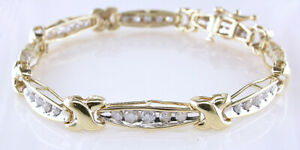 Diamond Tennis Bracelet 7 34 Inch 2ct Two Tone Gold