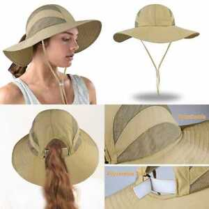 Safari Sun Hats For Women Wide Brim UV UPF Ponytail Fishing Hat Outdoor One Size