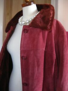Ladies DENNIS BASSO genuine leather suede JACKET COAT size large UK 16 14 red