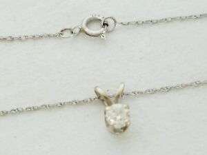 14k White Gold .14ct Natural Diamond Solitaire Pendant Necklace 18