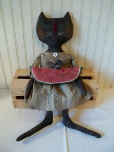 Primitive Grungy Black Kitty Cat Doll with Her Watermelon & Crow