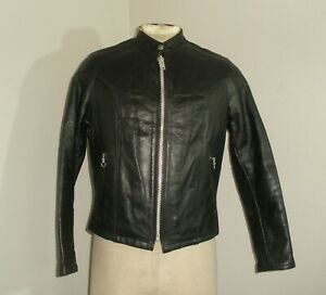 Vintage Womens 70s 80s Black LEATHER CAFE RACER Motorcycle Biker Moto Jacket 14