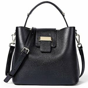 NAWO Women Leather Designer Handbags Shoulder Tote Top-handle Cross (1-black)