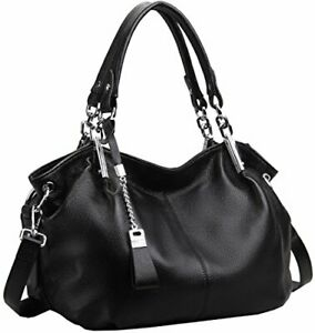 Heshe Womens Leather Handbags Ladies Designer Purse Tote Bag Top (Black-r)
