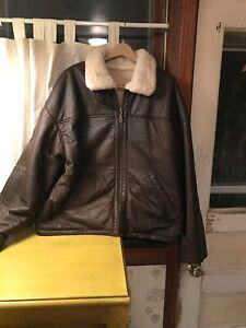 Wilsons Leather Brown Leather Jacket B3 Bomber Fur Lined Fur Collar Large