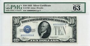 FR. 1700 1933 $10 Silver Certificate PMG Choice Unc 63 - Great Embossing