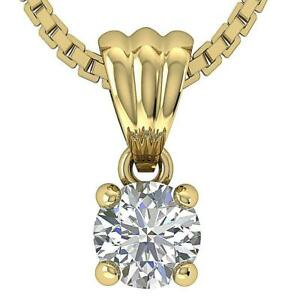 Real Diamond Four Prong Solitaire Pendant Necklace SI1 G 0.25 Ct 14K Yellow Gold