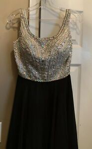Tiffany Designs Silver Beaded Prom Dress Black Size 4