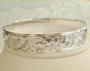 STERLING SILVER 925 HAWAIIAN BANGLE SWEETHEART PLUMERIA SCROLL 15mm sz 8.5 NEW