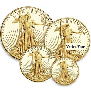 4-Coin Proof American Gold Eagle Set (Varied Year Box + CoA)
