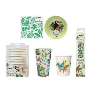 Picnic Summer Party Paper Set Tumblers Bowls Ice Cream Tubs Straws Tropical