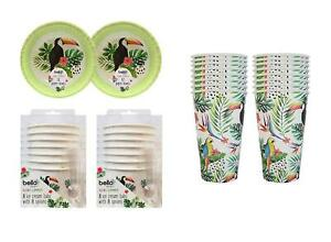 Picnic Summer Party Paper Eco Set Tumblers Ice Cream Bowls Tropical Parrot
