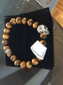 King Baby Studio Men's Tiger's Eye Skull Bead Sterling Stretch Bracelet NEW