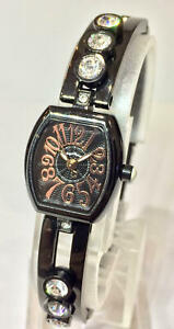 Battery Replaced Angel Heart Ladies Watch Rhinestone Black