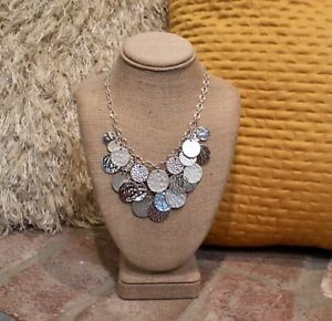 White House Black Market Silver Hammered Modernist Charm Bib Statement Necklace