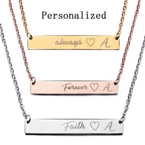 Stainless Steel Personalized Name Bar Necklace Custom Engraved Jewelry Gifts US