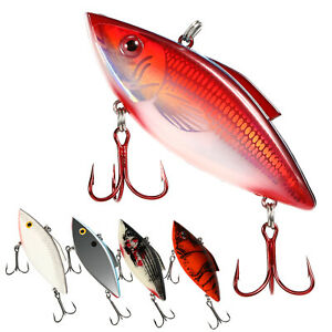 5x Fishing Lures Hard Baits Vivid Segment Swimbait Bass Crankbaits 2 Hooks US
