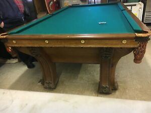 c1895 antique Quartersawn oak Brunswick pool table pfister model 6 legs - 9' L