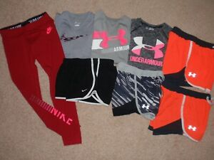 Sz Girls Youth Small 8 Under Armour Nike T-Shirt Top Shorts Leggings Outfit Lot