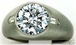 2.40 carat Round & 2 Bullet cut Diamond Engagement Solitaire Mens 14k Gold Ring