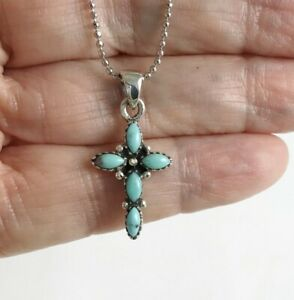 Small Navajo Turquoise Cross- 925 Sterling Silver -Pendant Ball Chain Necklace