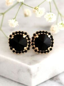 Delicated 2.50Ct Round Black Diamond Halo Stud Earrings 18K Yellow Gold Finish
