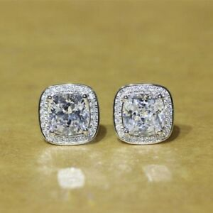 Delicated 4.20Ct Cushion Diamond Halo Stud Earrings Solid 18K White Gold Finish