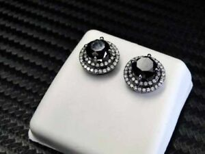 Delicated 2Ct Round Cut Black Diamond Halo Stud Earrings 18K White Gold Finish