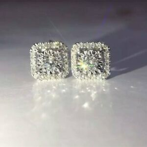 Delicated 1Ct Round VVS1 Diamond Halo Stud Earrings Solid 18K White Gold Finish